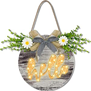 TURNMEON Prelit Hello Welcome Wreath Sign with Timer for Front Door Porch Decor Hanging Round Wooden Sign Daisy Eucalyptus Spring Summer Wreath Farmhouse Outdoor Home Wall Decoration Housewarming Gift