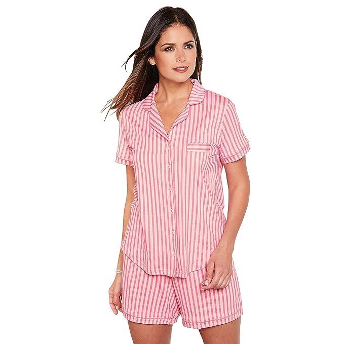 VENCA Pijama chaqueta de cuello solapa con botones forrados by VencaStyle,RAYAS ROSA/BLANCO