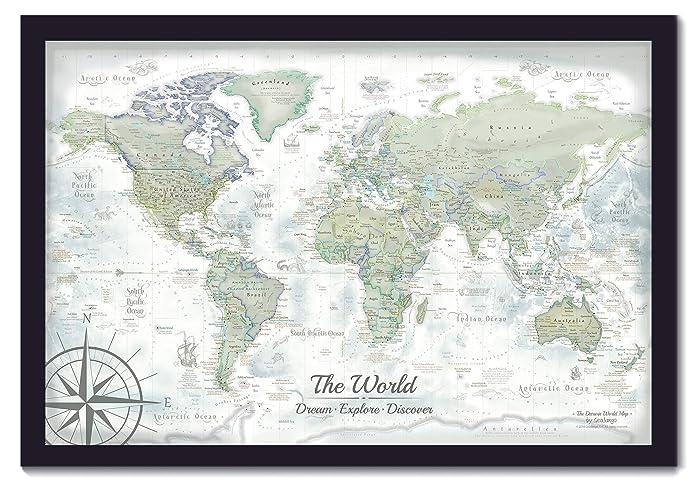 Amazon.com: Personalized World Map - Push Pin Map - The Darwin World ...