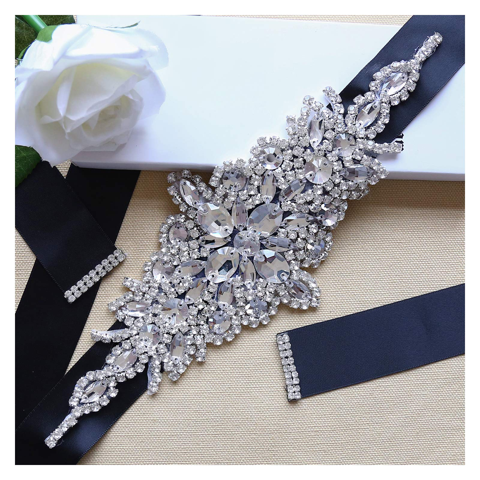 Crystal Applique with Black Ribbon Wedding Dress Belt Clear Rhinestone for Bridal Evening Dress Accessories by QueenDream