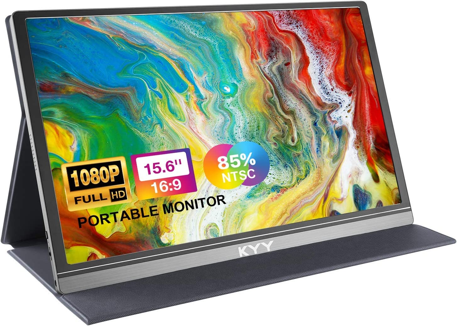 Portable Monitor for Laptop, 15.6'' 1080P FHD USB C Portable Laptop Monitor HDMI Gaming Monitor w/High Color Gamut Premium Smart Cover, Dual Speakers, External Monitor for Laptop PC MAC Phone PS4 Xbox