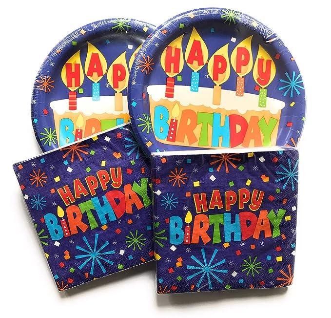 Amazon.com: Juego de platos y servilletas de feliz ...