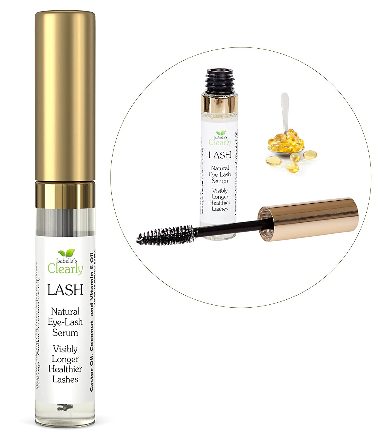Isabella's Clearly LASH - Best Eyelash Growth Serum - Longer, Fuller, Lush Lashes and Eyebrows - All Natural Lash and Brow Enhancer for Fast Growth - Moisturizing and Volumizing. Can use as Primer with Mascara - Pure Castor, Coconut, Vitamin E oils. Made i