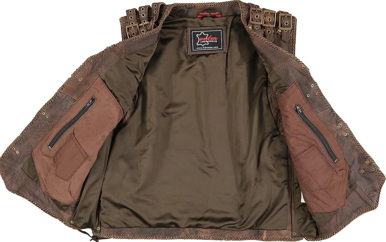 MDM Brown Mens Motorcycle Biker Leather Vest
