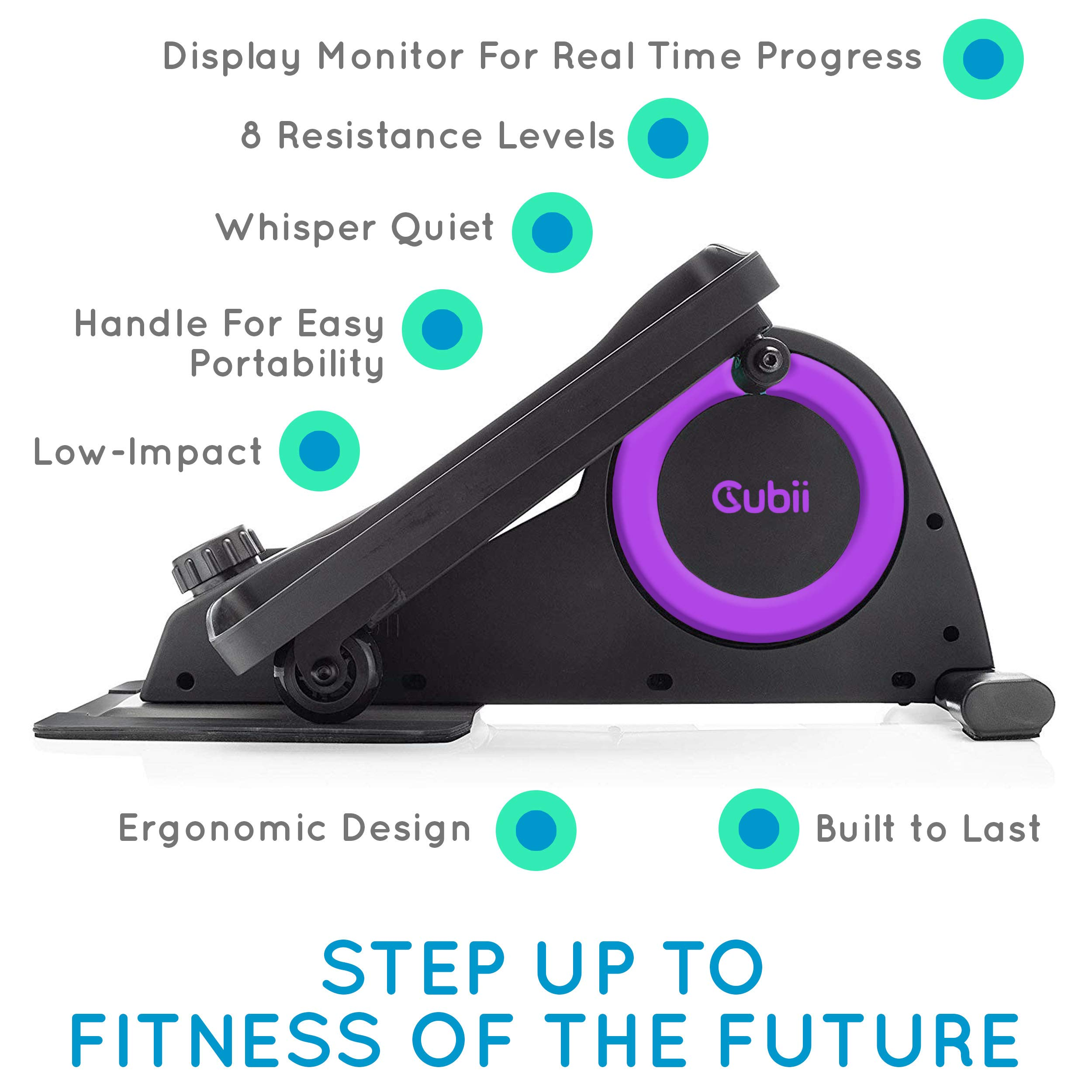 Cubii Jr: Desk Elliptical w/Built in Display Monitor, Easy Assembly, Quiet & Compact, Adjustable Resistance (Purple, One) by Cubii (Image #2)