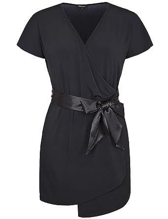 09feb26401f Chicwe Women s Stretch Plus Size Skirt Dress V Neck Spliced with Waist Belt  1X-4X