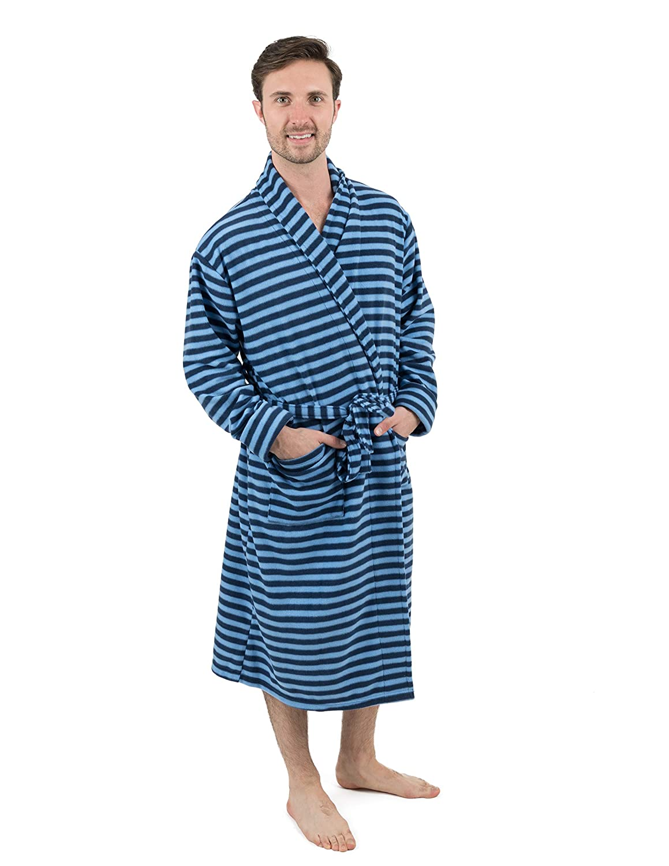56a8f3f281 Leveret Mens Robe Soft Micro Fleece Plush Shawl Collar Bathrobe Robe (Size  Small-XXLarge) at Amazon Men s Clothing store