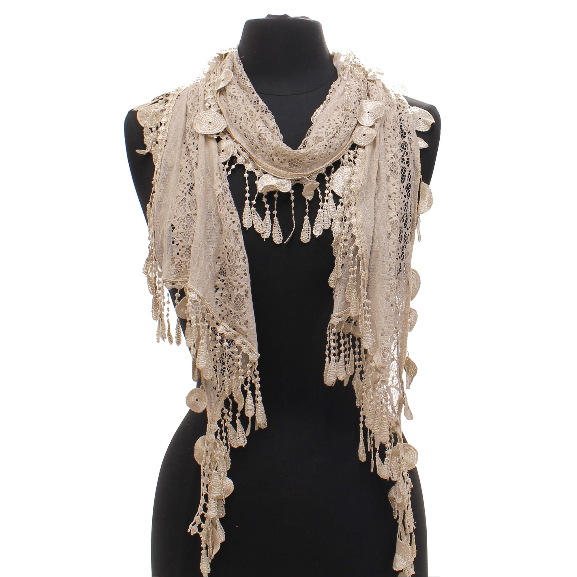 AN - Fashion Romantic Lace Scarf with Duo Tassels (Tan)