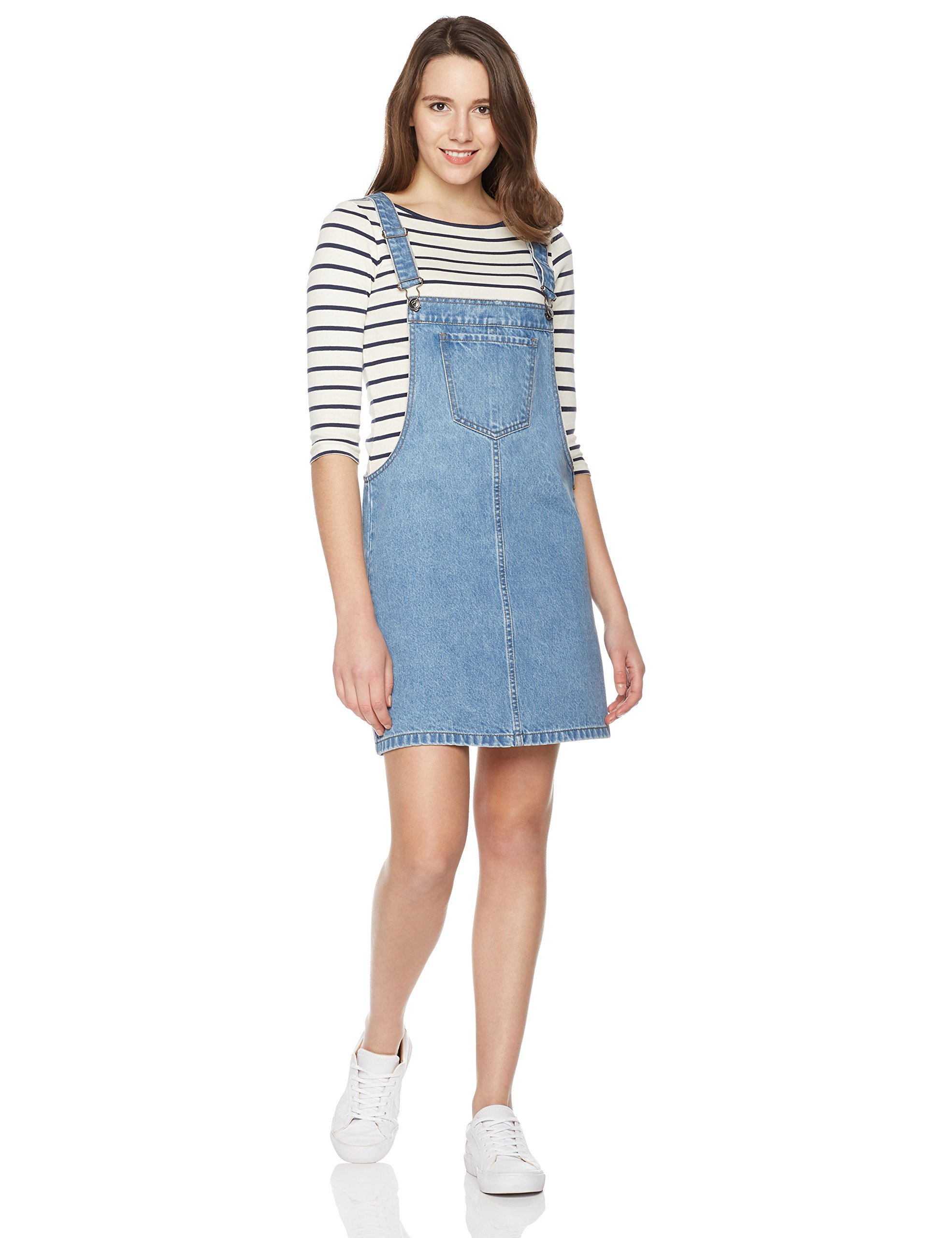 Lily Parker Women's Classic Adjustable Strap Denim Overall Dress X-Large Light Blue by Lily Parker
