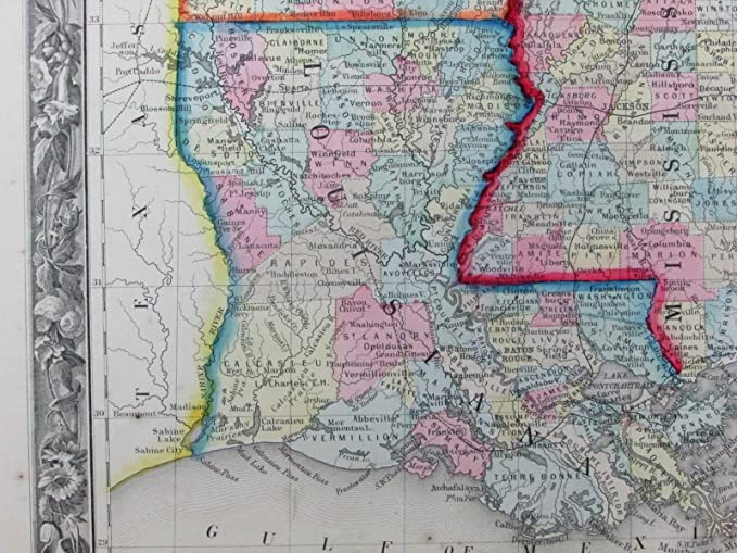Southern Louisiana Map.Amazon Com Louisiana Mississippi Arkansas Southern U S 1860