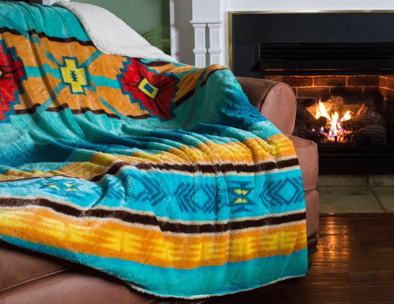 Cozy Fleece Oversized Southwestern Throw with Reverse Sherpa, 60 x 80, Cool