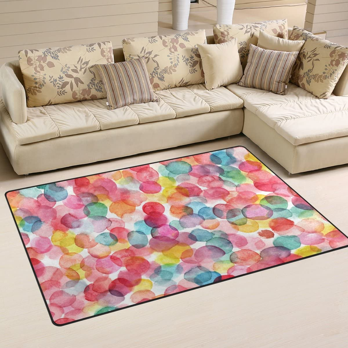Yochoice Non-slip Area Rugs Home Decor, Watercolor Colorful Polka Dot Floor Mat Living Room Bedroom Carpets Doormats 60 x 39 inches
