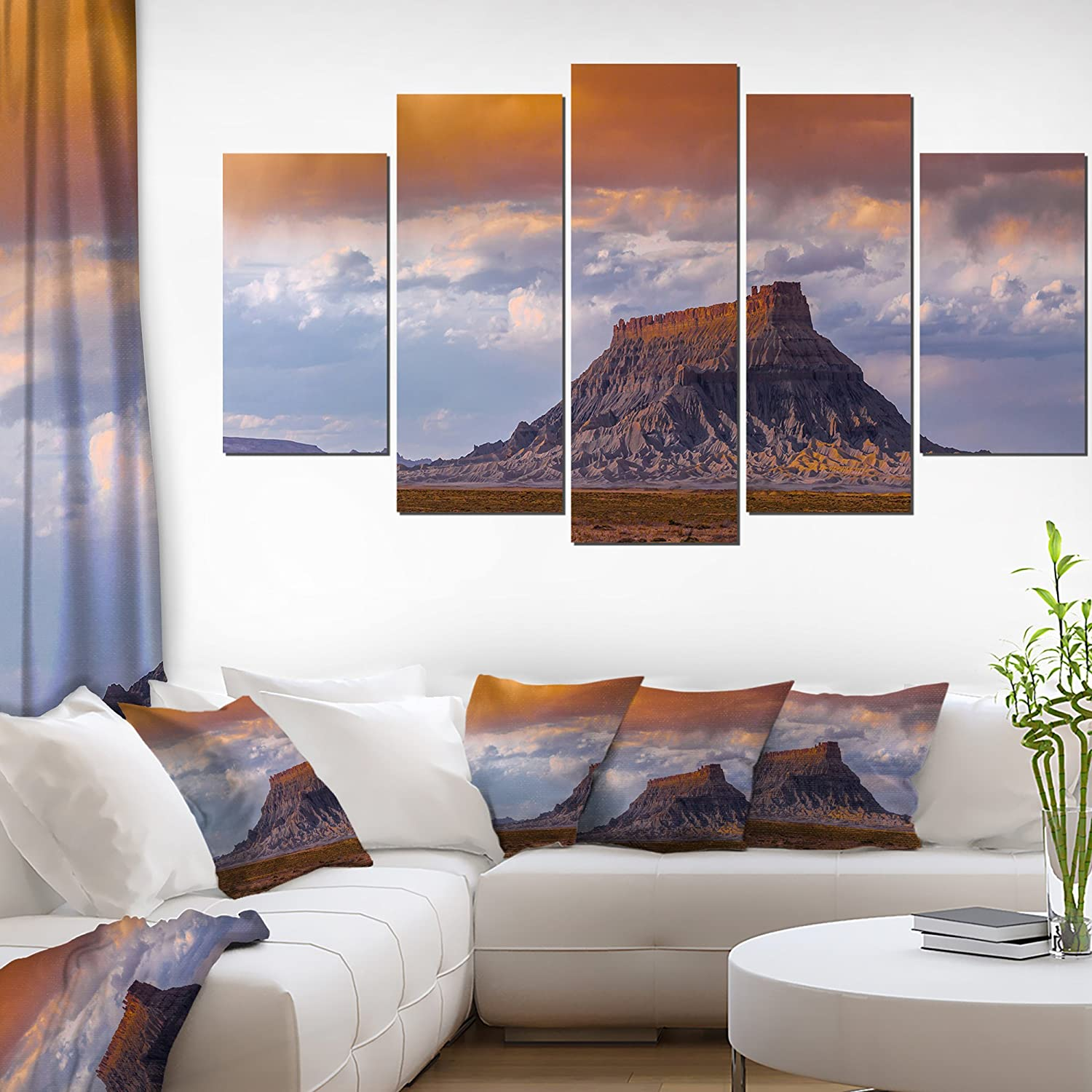 Designart 5 Piece Factory Buttle Utah Panorama Landscape Canvas Artwork 60 X 32 Brown Amazon In Home Kitchen