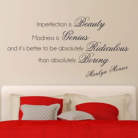 Marilyn Monroe Quote Wall Sticker Art Decal   Imperfection Is Beauty, Black Part 65