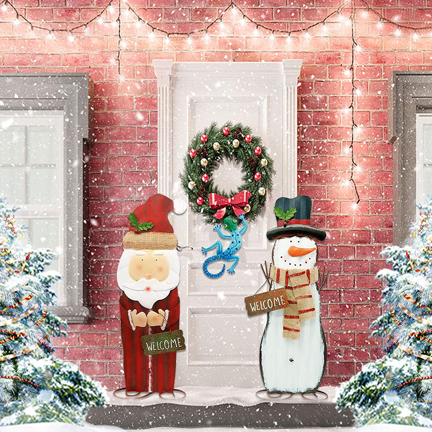TemwJa 2Ft Christmas Decorations Metal Handicraft Snowman&Santa Xmas Yard Sign Decors Iron Craftmanship Gifts Indoor(2 Pack with Gecko)