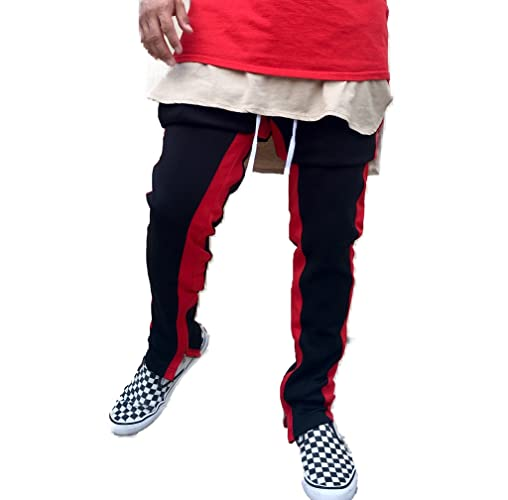 b80dee347c10fe Amazon.com: Red/Black Double Striped Fear of God Inspired Trackpants w/  RIRI Zippers: Handmade