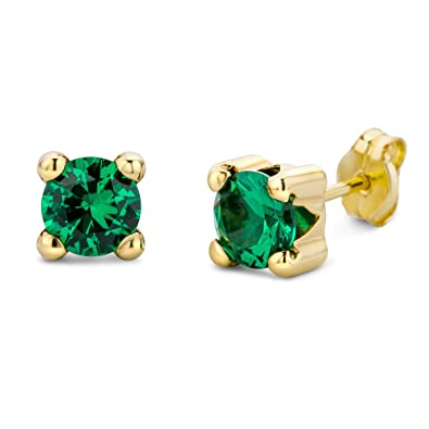 Miore Earrings Women studs Emerald with Swarovski Yellow Gold 9 Kt/375 dE3aH2L