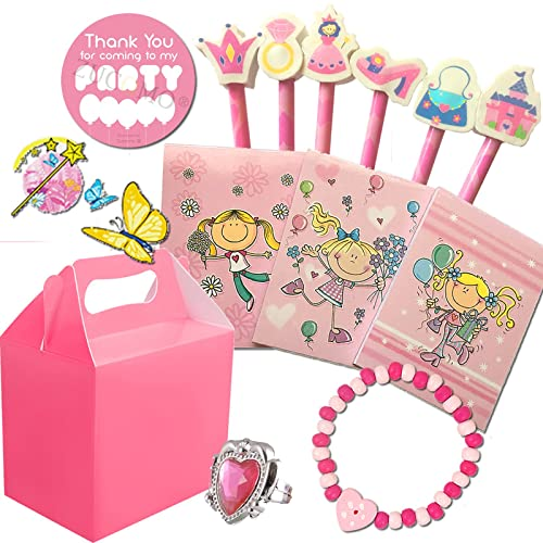 Girls Pre Filled Party Bags Box For Children Luxury Themed Birthday Wedding Party Activity Gift Bag (Baby pink party box V1)