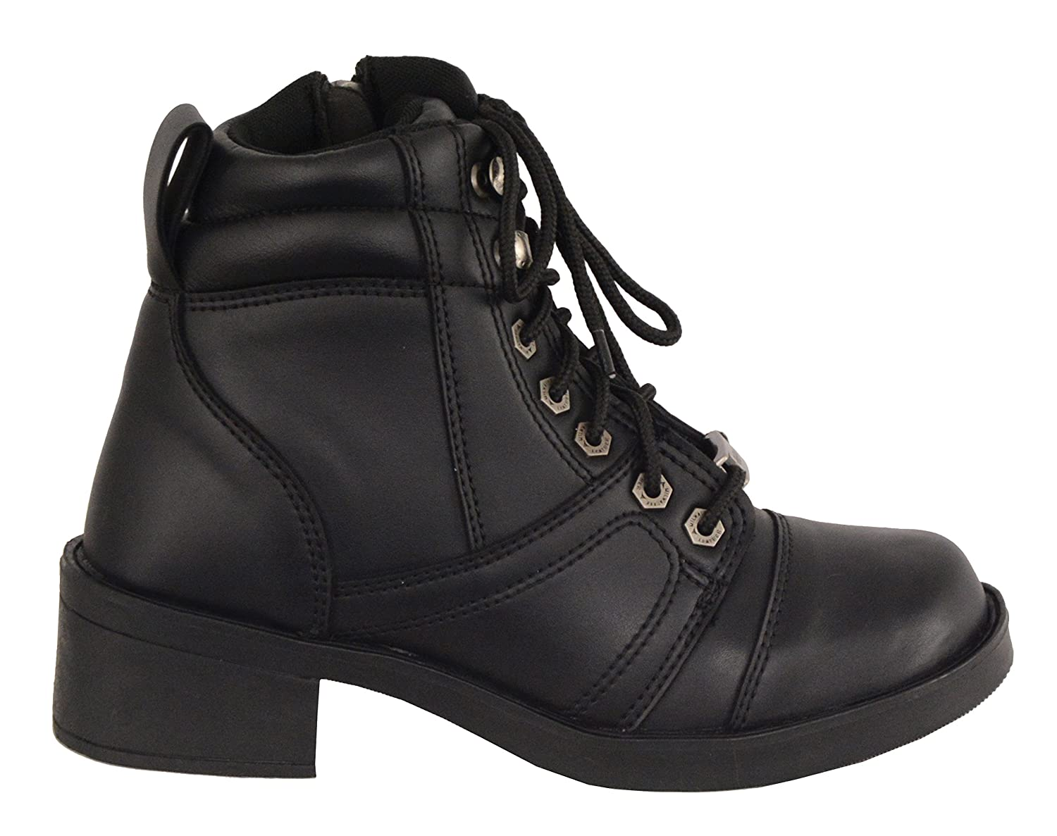 Milwaukee Leather Boys MBK9255-BLK-Kids Youth Side Zipper Lace to Toe Boot Black 6