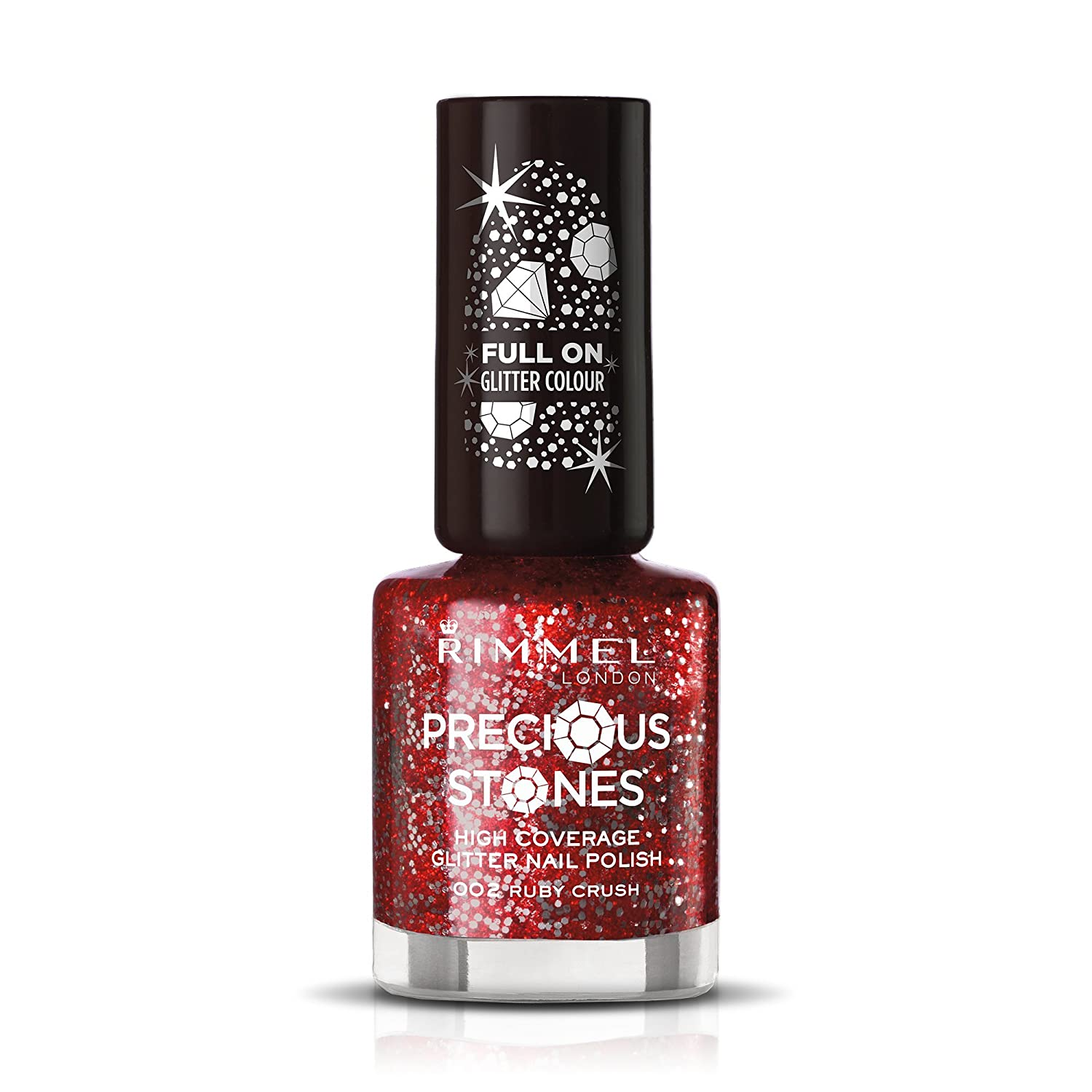 Rimmel London Glitter Nail Polish Top Coat, Ruby Crush, 8 ml: Amazon ...