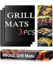 BBQGO Grill Mat, Non-stick Reusable Barbecue Mat with PTFE surface, High Temperature Resistant Teflon Barbecue Mat, FDA Approved, Perfect for Baking on Gas, Charcoal, Oven and Electric Grills 0.3 mm, 15.75 x 13-Inch, Black (Set of 3)