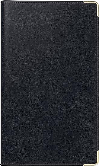 rido/idé 701780990 Taschenkalender Taschenplaner int., 2 Seiten = 1 Woche, 87 x 153 mm, Kunstleder-Einband Belnova schwarz, Kalendarium  2019, Wire-O-Bindung