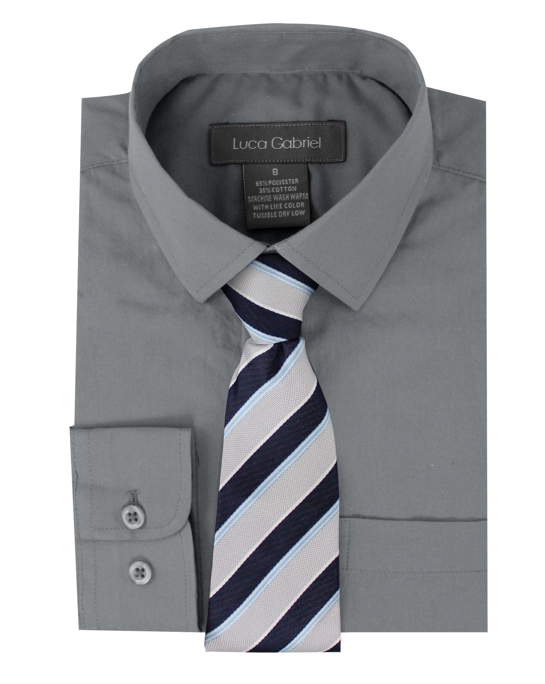 Luca Gabriel Toddler Boy's Long Sleeve Formal Button Down Dress Shirt & Tie Set - Silver Size 10