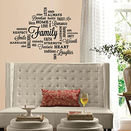 RoomMates RMK2741SCS Family Quote Peel and Stick Wall Decals & RoomMates RMK2741SCS Family Quote Peel and Stick Wall Decals ...