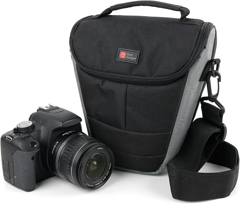 DURAGADGET Bandolera Negra Y Gris para C/ámara Light L16 con Correa Ajustable Resistente Y Duradera Blackmagic Pocket Cinema Camera 4K Lenovo Mirage Camera