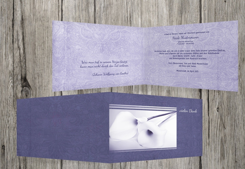 agradecimiento luto Calla de lirio, LavendelLila, 60 Karten