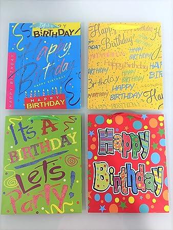 UNIQOOO 4 Pcs Birthday Premium Assorted Colorful Gift Bags Bulk Large 125x10