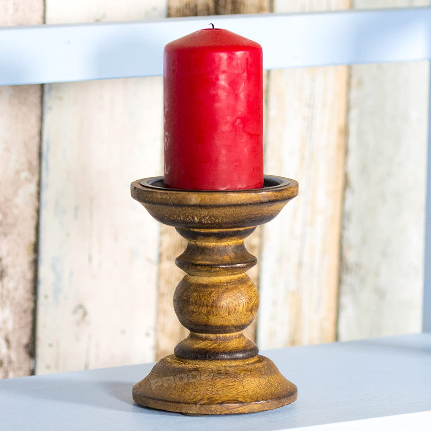Set Of 2 Wooden Pillar Candle Holders (Brown Design Four)