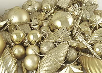 125 piece club pack of shatterproof champagne gold christmas ornaments - Gold Christmas Ornaments