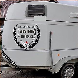 Pegatina Promotion Banner Western Horses Modell 2, Aufkleber Anhänger Pferd Anhänger ca. 60cm