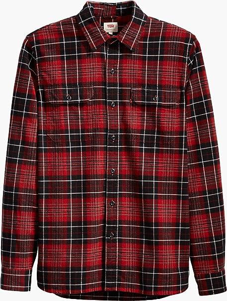 Levis Hombre Camisa de la Tela Escocesa de Jackson Dahila, Rojo, Medium: Amazon.es: Ropa y accesorios