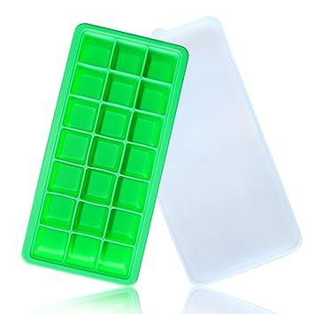 Cubitera de silicona de Mingtong, molde para cubitos de hielo flexible con tapa, cubitos de hielo pequeños, recipiente con tapa extraíble, duradero, ...