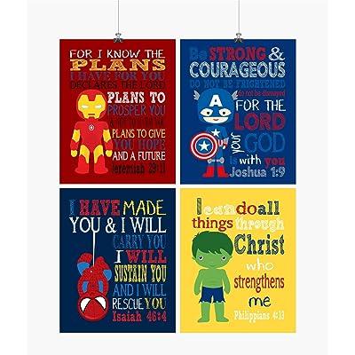 Superhero Inspirational Nursery Decor Art Set of 4 Prints - Ironman, Captain America, Spiderman and Hulk: Handmade