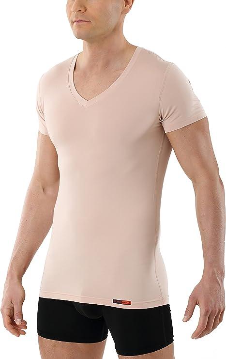 ALBERT KREUZ Camiseta Interior Invisible para Hombre de Tejido técnico algodón-Coolmax® – antisudor, Piel Seca – de Manga Corta y con Cuello de Pico – Color Piel: Amazon.es: Ropa y accesorios