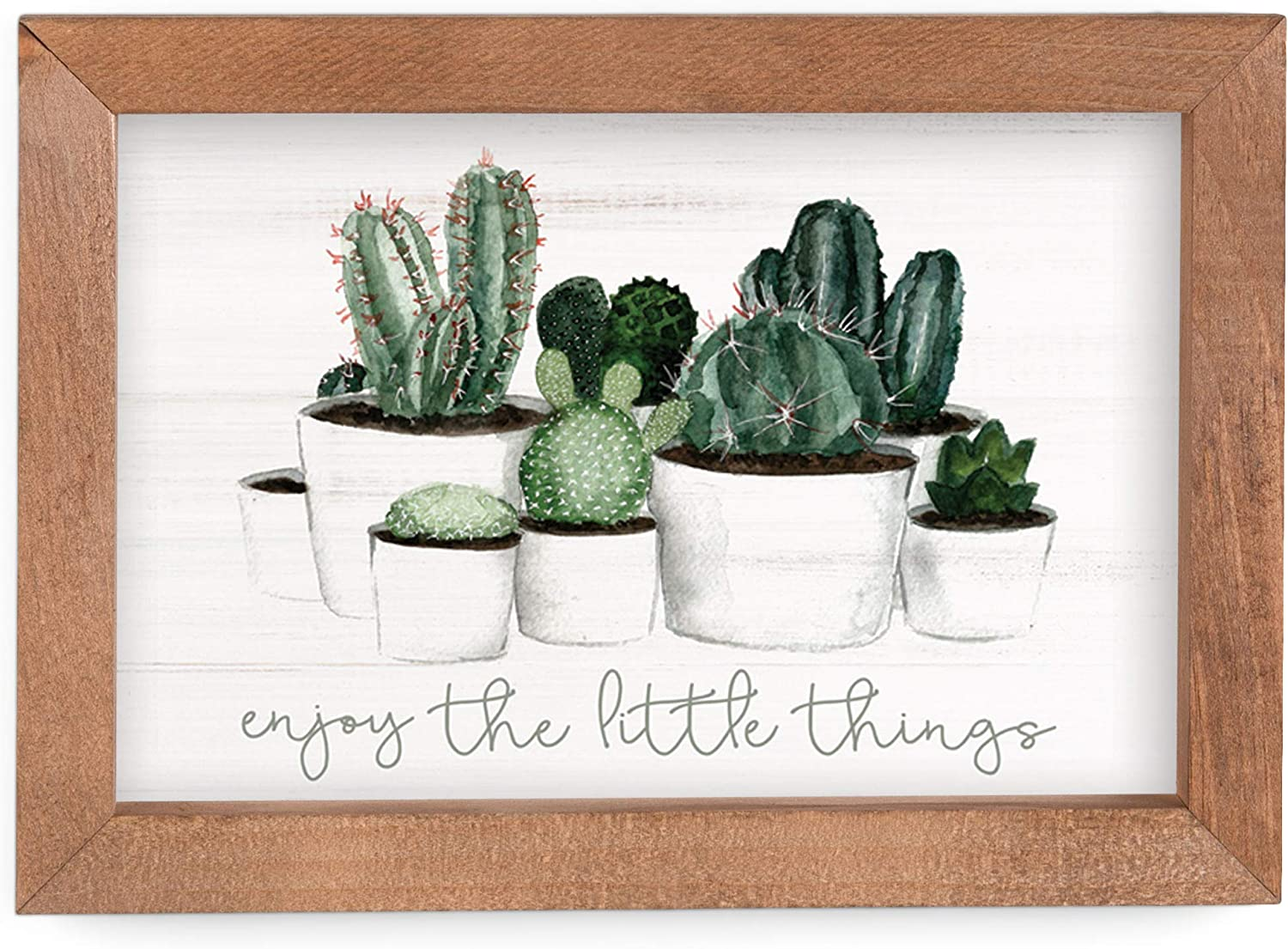 P. Graham Dunn Enjoy The Little Things Cactus Plants 10 x 7 Inch Pine Wood Framed Wall Art Plaque