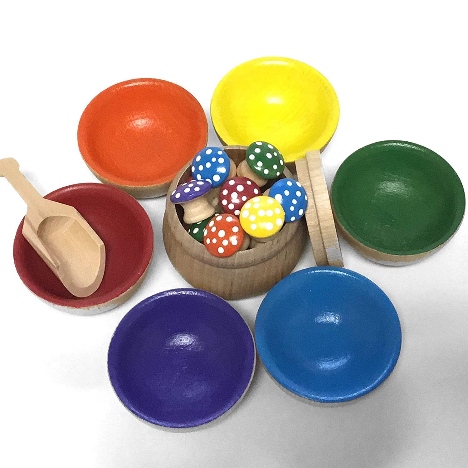 MDH Toys Handcrafted Solid Wood Mushroom and Bowls Colour Sorting Set M.D. Handfield Designs Inc.
