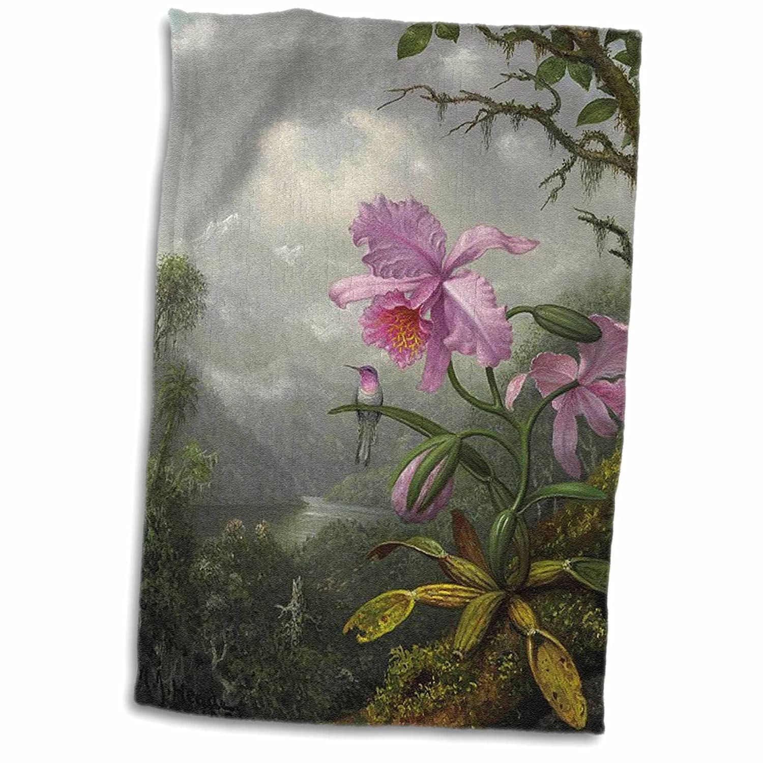 3D Rose Image of Heades 1800S Painting Hummingbird On Orchid Hand Towel 15\' x 22\'