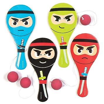 Baker Ross- Paletas de Ninjas para niños (Pack de 4) -Regalos para Bolsas de cotillón
