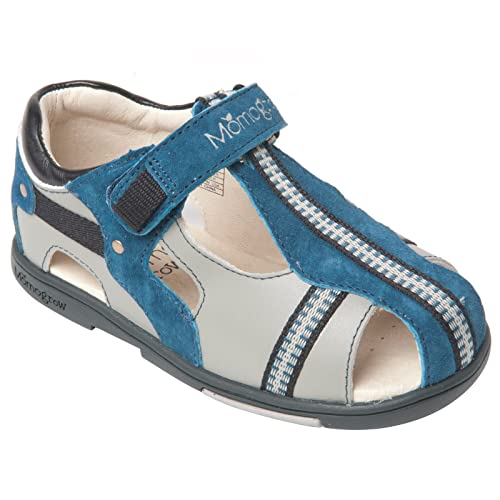 7d426e0ea877 Momo Grow Boys Cross-Strap Leather Sandal Shoes - 8 M US Toddler