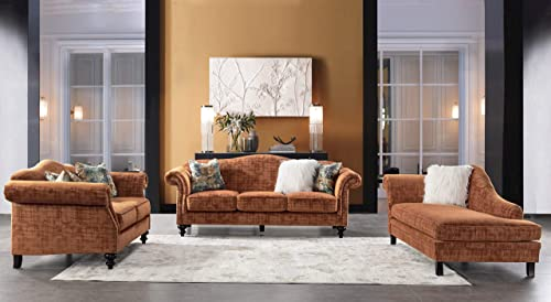 Acanva Luxury Mid-Century Vintage Velvet Living Room Sofa, 3 Piece, Tangerine