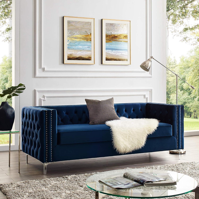 Inspired Home NavyVelvet 3-Seat Sofa - Design: Giovanni | Velvet | Metal Legs | Tufted Design