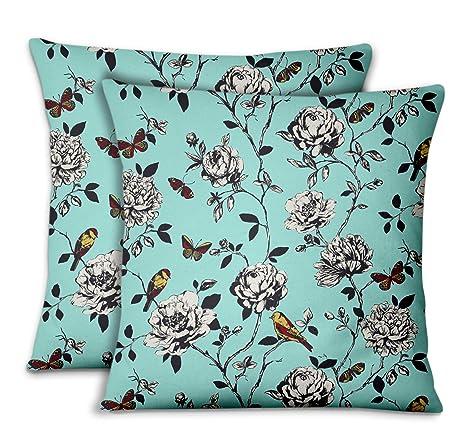 S4Sassy Verde Terciopelo Bird & Sofá Impreso Funda de cojín ...