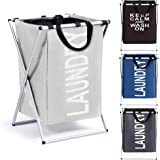 Smile Mom Laundry Basket/Bag/Hamper for Clothes with Foldable Aluminium Frame, Best for Home Bathroom Bedroom (Light Grey)