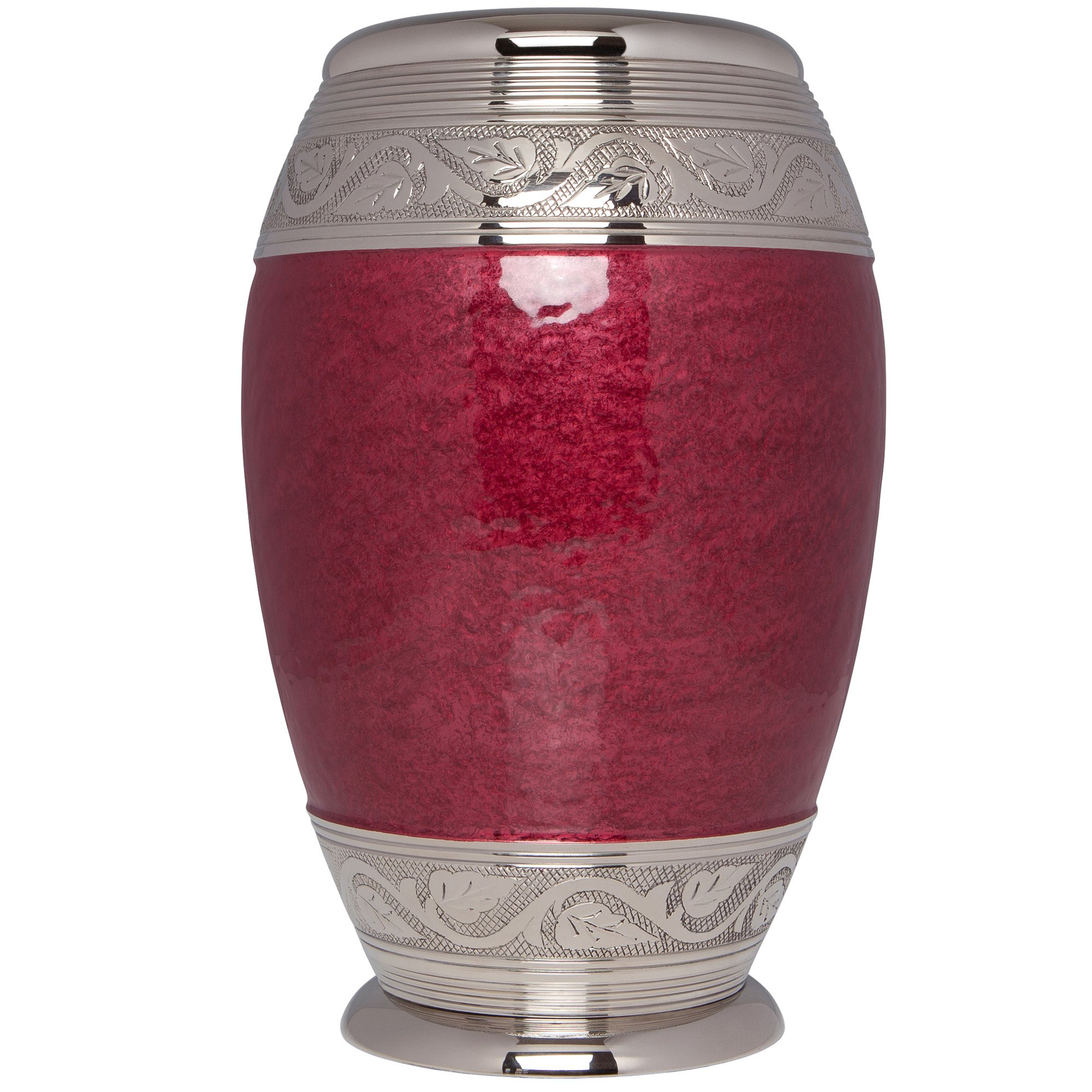 Liliane Memorials Red Funeral Urn by Cremation Urn for Human Ashes - Hand Made in Brass - Suitable for Cemetery Burial or Niche - Large Size fits remains of Adults up to 200 lbs - Laurel Model