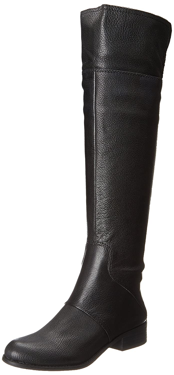 Women's Black Genuine Pebbled Leather Knee-High Fold Over Cuff Pirate Boots - DeluxeAdultCostumes.com