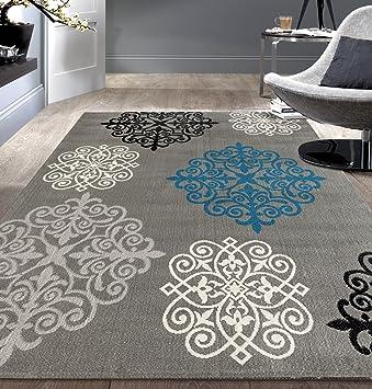 Amazon.com: Rugshop Modern Geometric Damask Design Area Rug, 7'6
